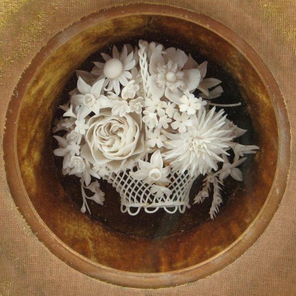 165: Belleek (Attr.) Floral Basket In Display Frame - 2