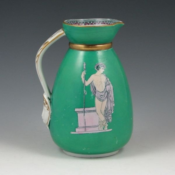 "167: Belleek 6 1/2"" Pitcher w/ Greek Figures"