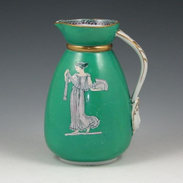 "167: Belleek 6 1/2"" Pitcher w/ Greek Figures - 2"