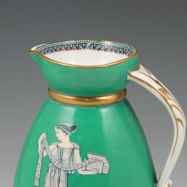 "167: Belleek 6 1/2"" Pitcher w/ Greek Figures - 4"