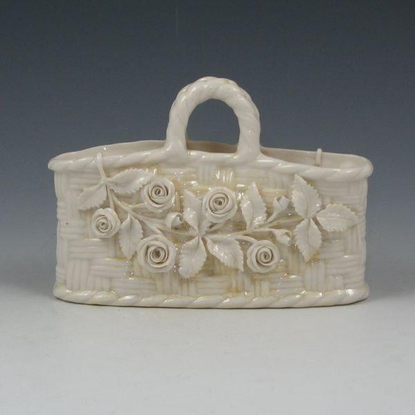 190: Belleek Floral Straw Basket - 2nd Black