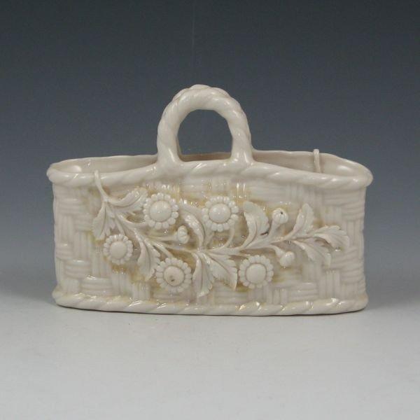 190: Belleek Floral Straw Basket - 2nd Black - 2