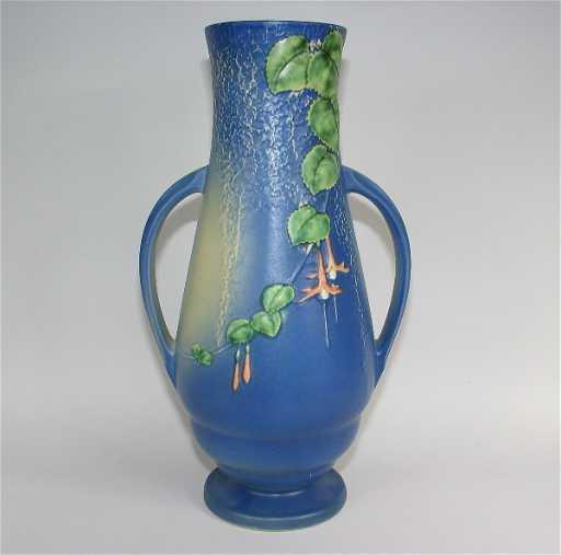 479 Roseville Fuchsia 905 18 Blue Floor Vase Mint