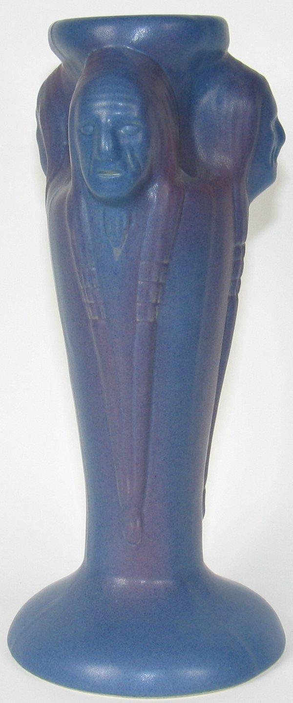 """51: Van Briggle 12 1/4"""" Vase w/ Indians - Mint"""