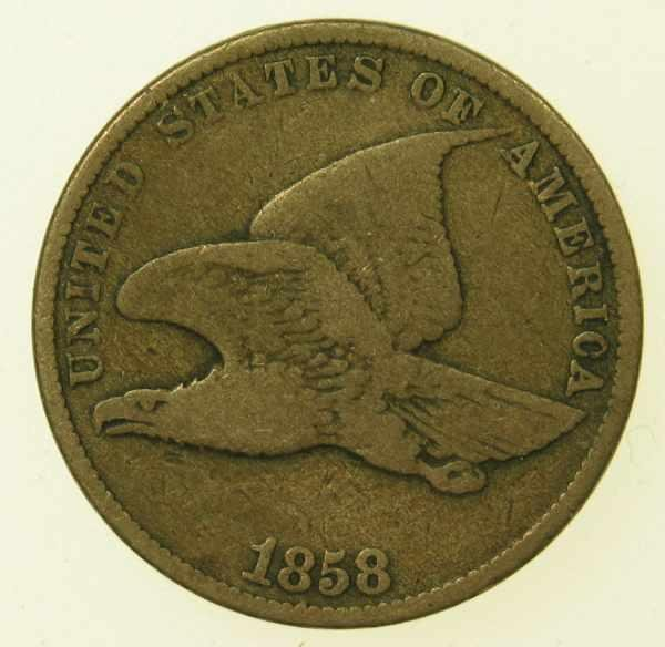 21: 1858 Small Letters Flying Eagle Cent VG-8
