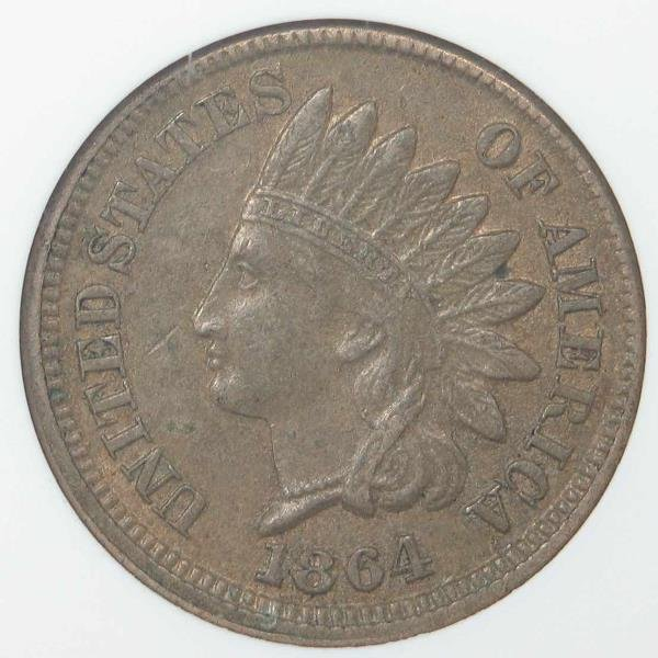 22: 1864 Copper Nickel Indian Head Cent ANACS MS 61