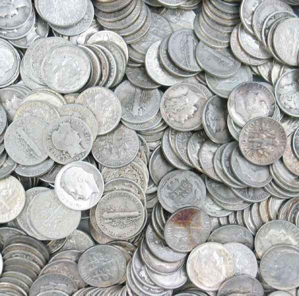 2: Lot of 500 Silver Roosevelt Mercury Barber Dimes