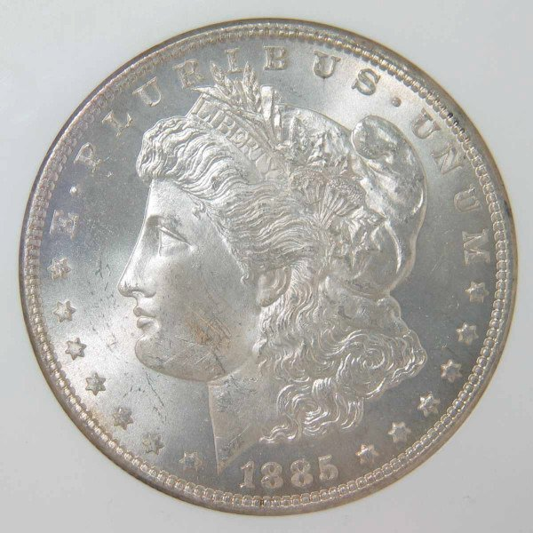 23: 1885 Morgan Silver Dollar NGC MS 65