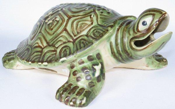 """5: Large Brush Turtle Ornament 14 1/2"""" - Mint"""