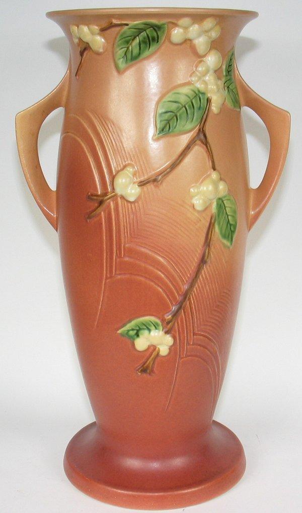 "6: Roseville Snowberry 18"" Floor Vase in Pink"