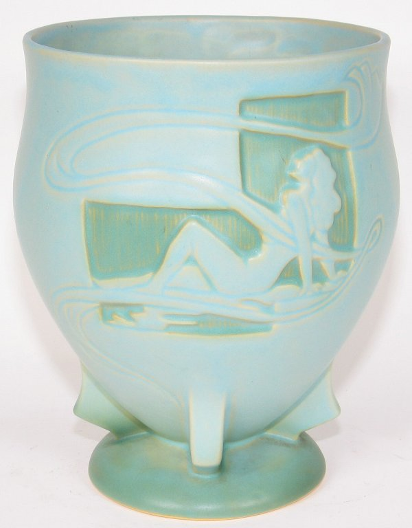 "7: Roseville Silhouette Nude 8"" Vase in Blue - Mint"