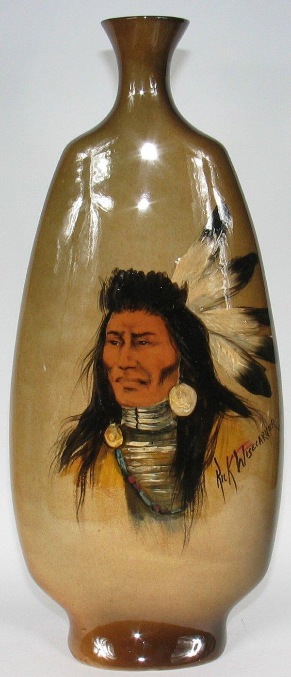 """14: Rick Wisecarver 21"""" Vase w/ Indian Portrait - Mint"""