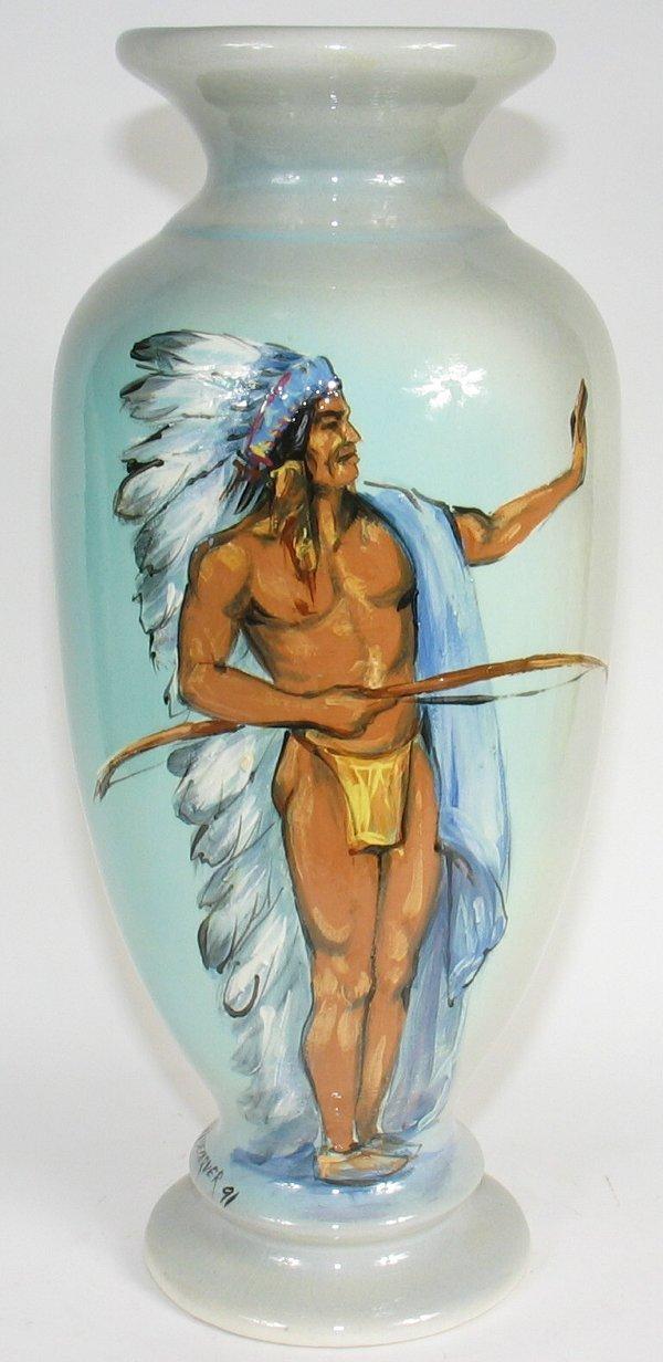 "151: Rick Wisecarver 17"" Full Length Indian Vase - Mint"