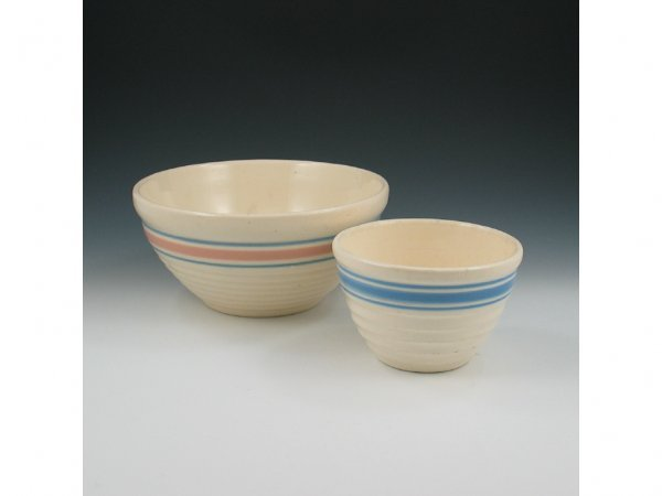 21: Hull Banded Utility Bowls (Two) - Mint