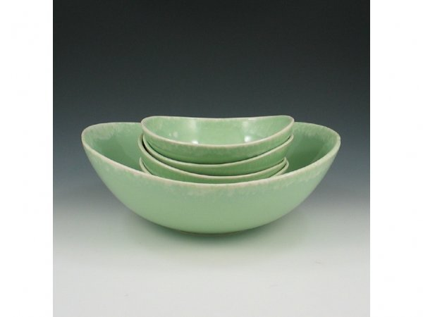 40: Hull Oven Proof Five Bowl Set in Mint Green