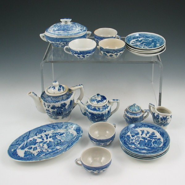 9: Set of Blue & White Children's Mini Play Dishes