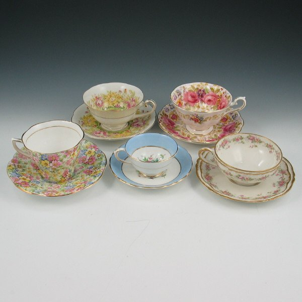 12: Lot of Five (5) Cups & Saucers - Limoges, Rosina