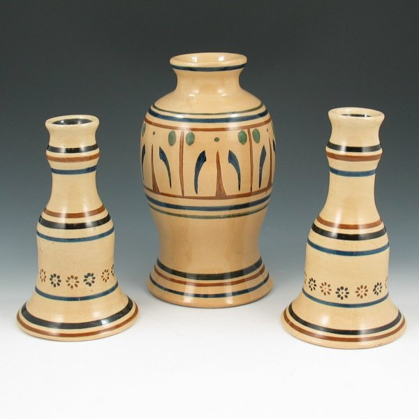 22: Hand Turned Art Pottery Vase & Candleholders