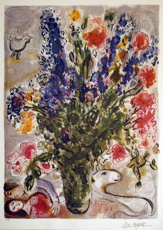 Les Lupins Bleu by Marc Chagall - Lithograph on Paper -
