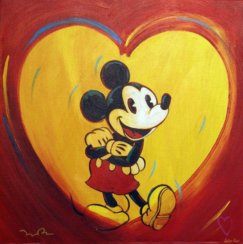 I Heart Mickey by Simon Bull - Giclee on Canvas -