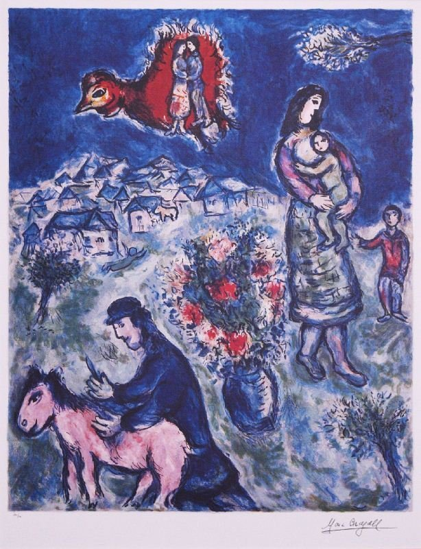 Sur la Route de Village by Marc Chagall - Lithograph on