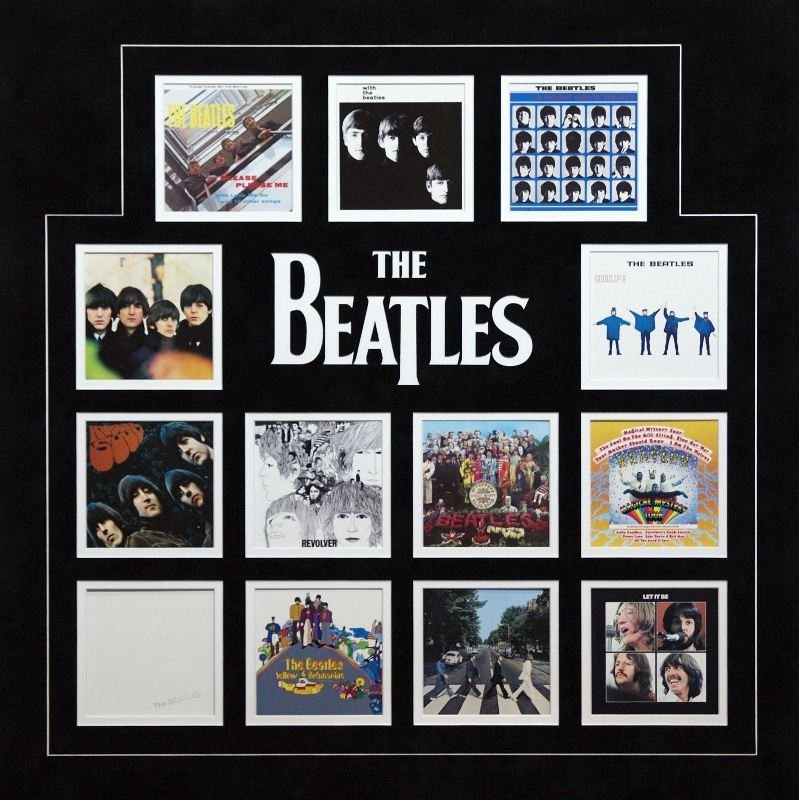 The Beatles UK Album Covers by Mounted Memories -