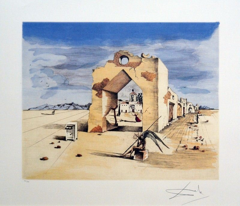 Paranoic Village by Salvador Dali - Lithograph on Paper