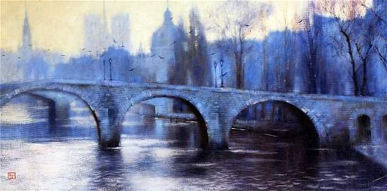 Evening In Paris by Vakhtang - Original Oil on Canvas -