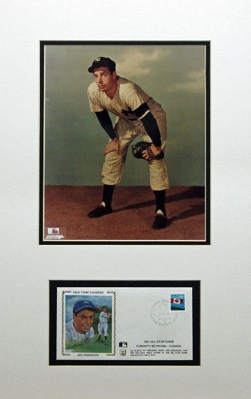 Joe Di Maggio Print And Collectors Stamp by Unknown