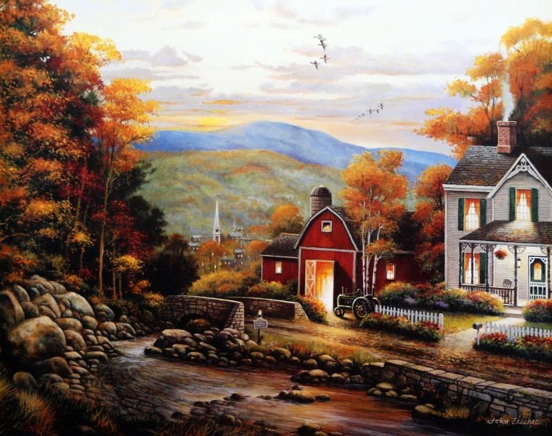Rural Countryside by John Zaccheo - Offset Lithograph -