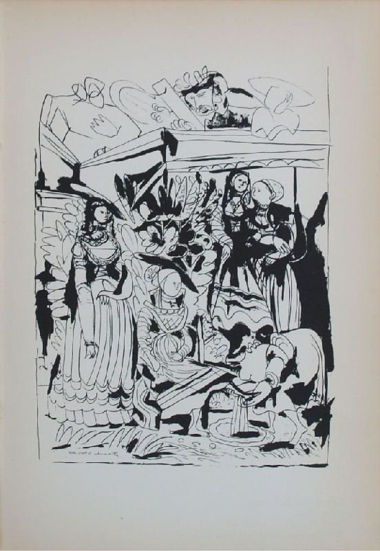 David and Bathsheba I by Pablo Picasso - Lithographic