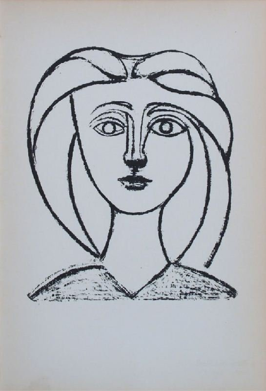 Head of a Young Girl by Pablo Picasso - Lithographic