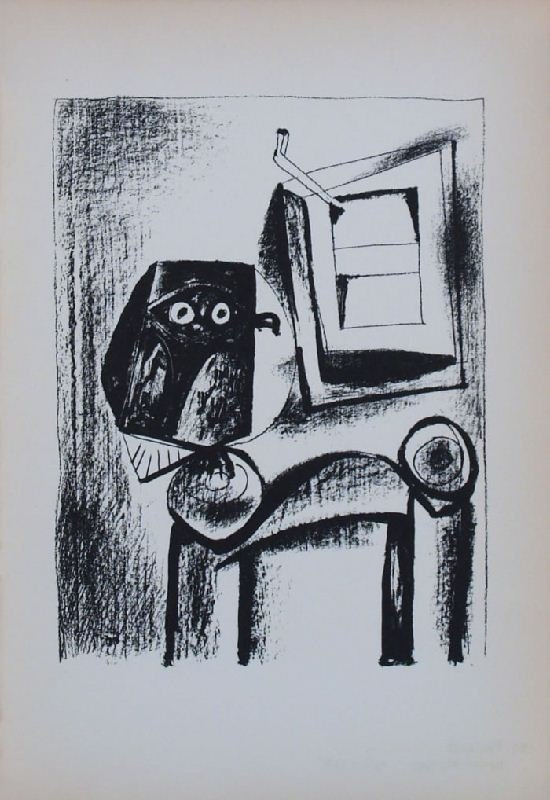 Owl Before Window Sill by Pablo Picasso - Lithographic