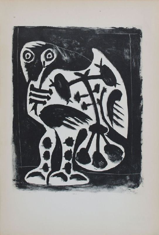 Owl by Pablo Picasso - Lithographic Bookplate -