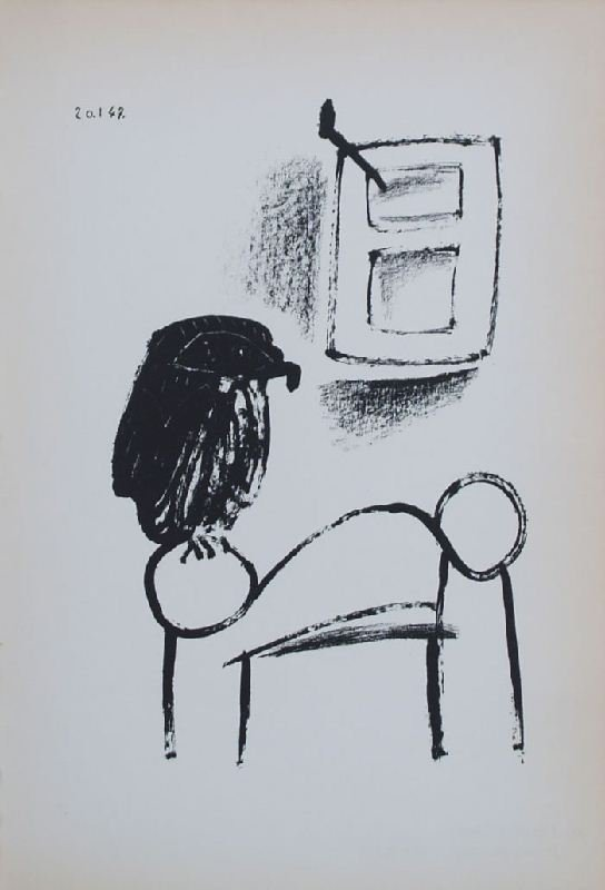 Perched Owl by Pablo Picasso - Lithographic Bookplate -