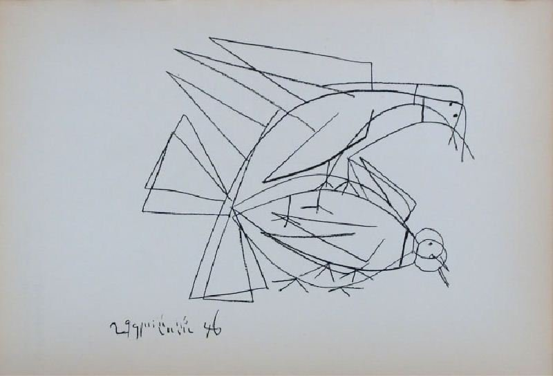 Purple and Yellow Birds by Pablo Picasso - Lithographic