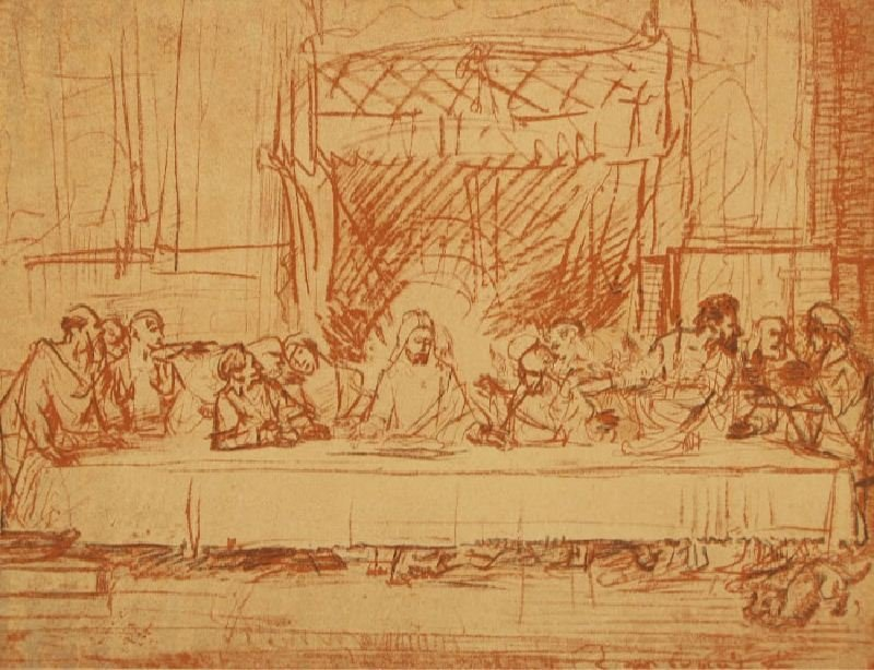 Sketch by Rembrandt of Leonardo's Last Supper by