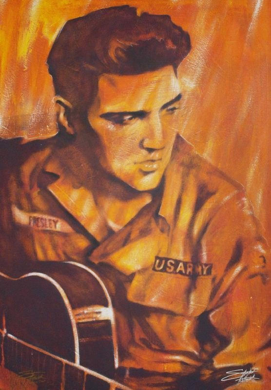 Presley US Army by Stephen Fishwick - Giclee on Canvas