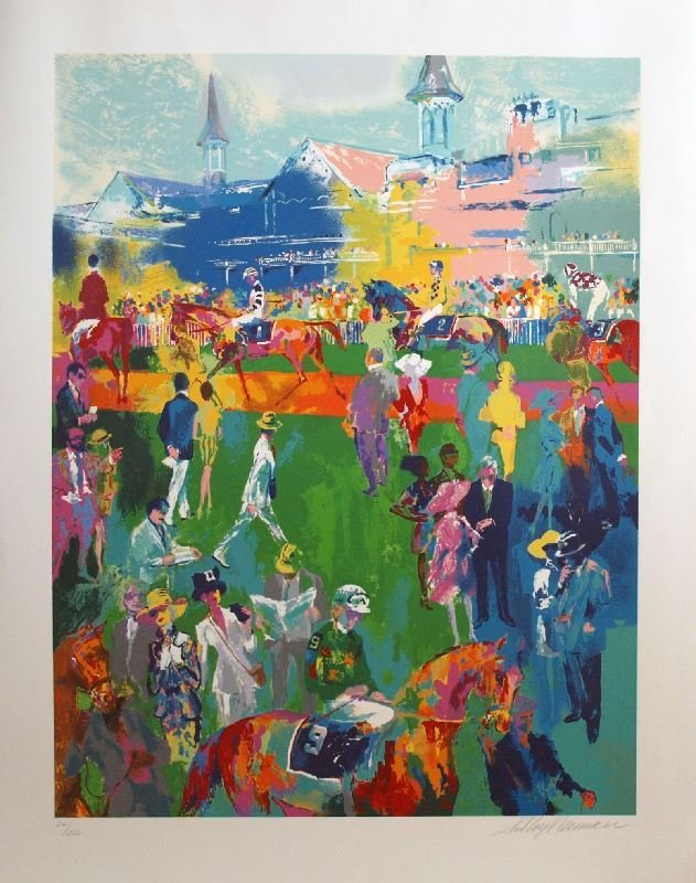 Derby Day Paddock by LeRoy Neiman - Serigraph on Paper