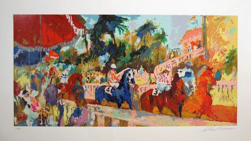 Leaving the Paddock by LeRoy Neiman - Serigraph on