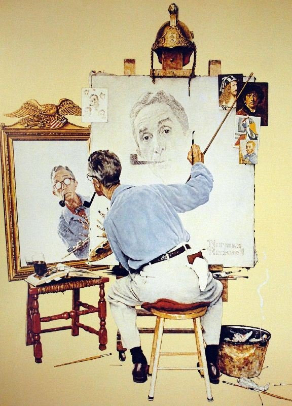 Triple Self Portrait by Norman Rockwell - Lithograph on