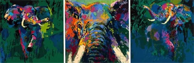 Elephant Triptych by LeRoy Neiman - Serigraph on Paper