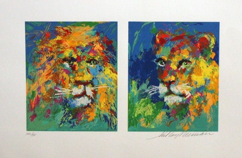Lion and Lioness by LeRoy Neiman - Serigraph on Paper -
