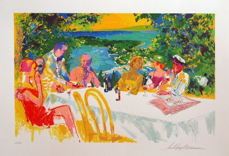 Wine Alfresco by LeRoy Neiman - Serigraph on Paper -