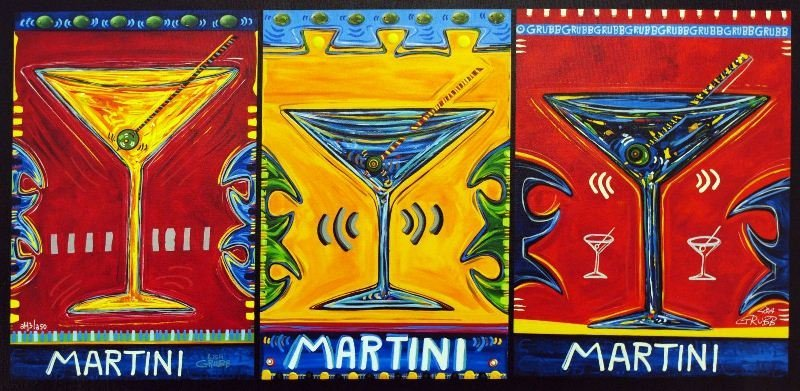 Triple Martini by Lisa Grubb - Giclee on Canvas - Pop