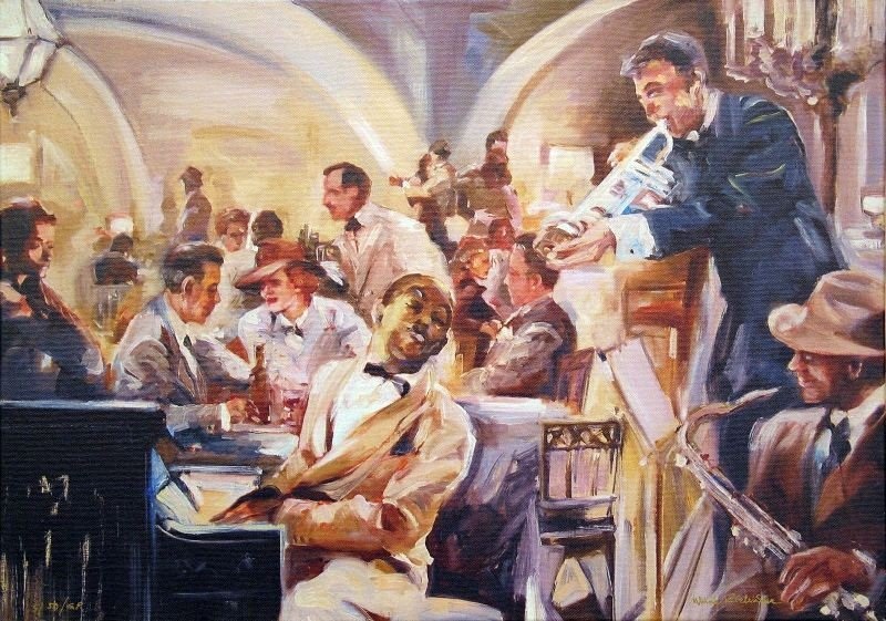 Jazz Club by Maria Zielinska - Giclee on Canvas -