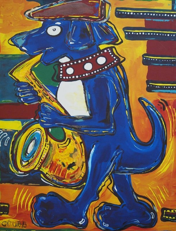 Jazz Dog by Lisa Grubb - Giclee on Canvas (Gallery
