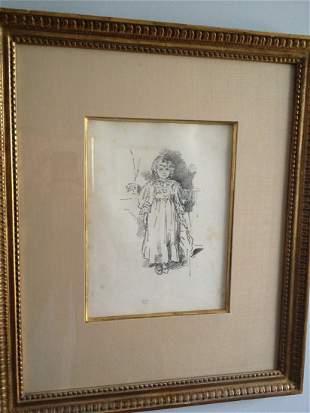 "James A. Whistler Original Lithograph ""Little Evelyn"""