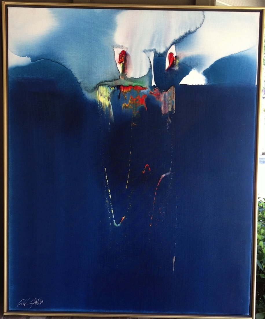 Paul Jenkins (American 1923-2013) O/C Signed and Titled