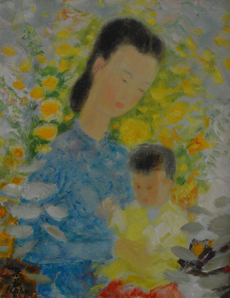 Le Pho (1902-2001) O/C Portrait of Mother and Child